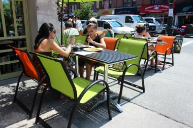 The sidewalk seating at Ovelia, 34-01 30th Ave. in Astoria.