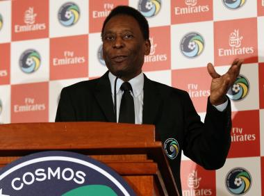 New York Cosmos Honorary President Pelé speaks to the media during a press conference announcing a partnership between the New York Cosmos and Emirates Airline at Four Seasons Hotel New York on June 4, 2013 in New York City.
