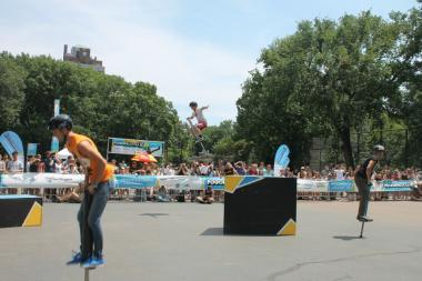 Athletes put their extreme pogo-sticking skills on show in Tompkins Square Park Saturday.