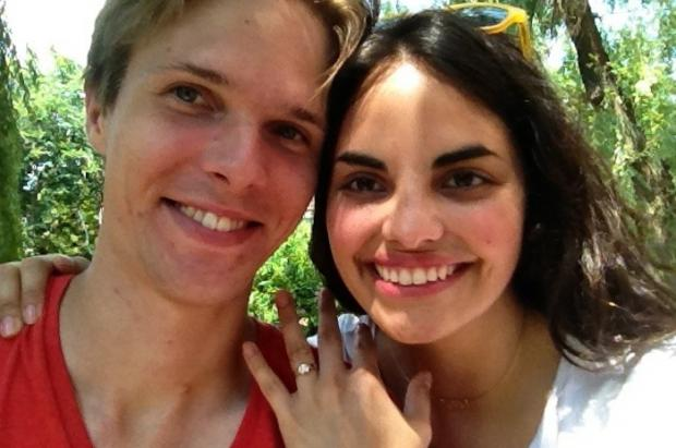 Jonathan Baillehache proposed to Alejandra Calva in the El Jardin del Paraiso garden last month.