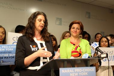 Council Speaker Christine Quinn, right, with NARAL Pro-Choice New York President Andrea Miller.