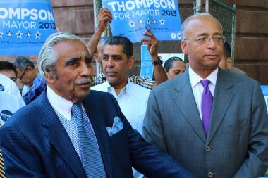 Congressman Charles Rangel, left, with mayoral candidate Bill Thompson