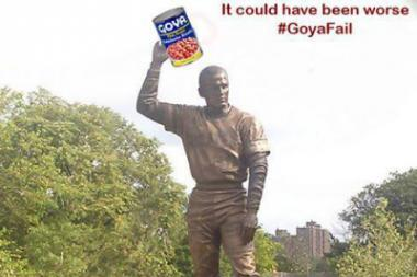 "A satirical response to the large ""Goya"" logo on the Roberto Clemente statue posted on Twitter by @urbanjibaro."