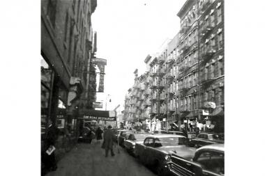 In this 1960 photo of MacDougal Street, the San Remo Cafe appears at the left.