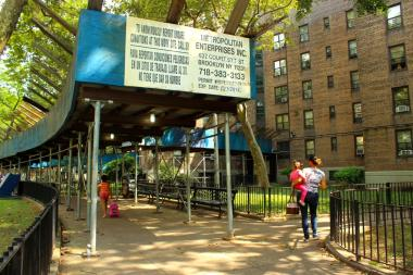 Residents say scaffolding at the Queensbridge Houses has been there for years and is a potential hideout for drug dealers.