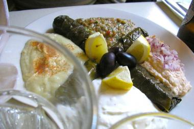 Hummus and grape leaves are some of the Greek food standards available at Snack and Snack Taverna.