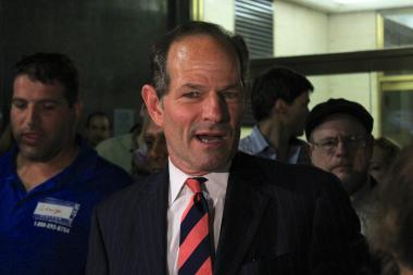 Eliot Spitzer outside of the Board of Elections office delivering his signatures to get on the Democratic primary ballot for comptroller.