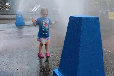 These neighborhood playground sprinklers and water features offer splashy fun.