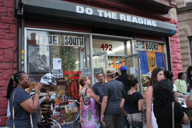 Dozens flocked to True South Book Store in Bed-Stuy after the owner, Monroe Brown, was hospitalized.