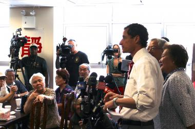 Former congressman Anthony Weiner speaking to seniors at the Nan Shan Senior Center in Flushing, Queens.