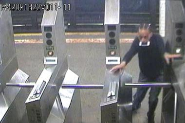 Police said the suspect stole an iPhone from a straphanger at the West 157th Street 1 train station on July 25, 2013.