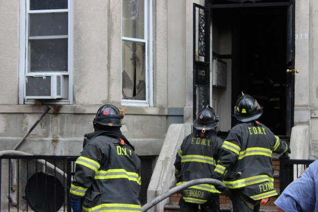 A blaze tore through the Chauncey Street home Thursday morning, the FDNY said.