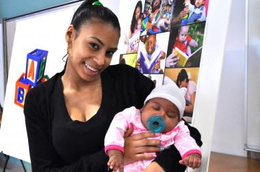 Aiara Gonzalez, 21, has been using the new Video Interaction Project training with her baby Samaris since her daughter's birth.