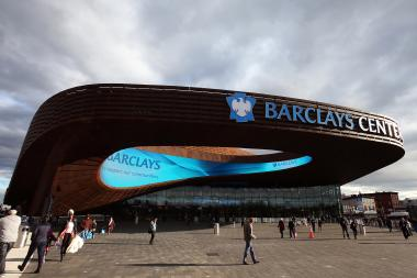The Barclays Center is located at the intersection of Flatbush, Fourth, and Atlantic Avenues.