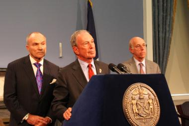 From left to right, Police Commissioner Ray Kelly, Mayor Michael Bloomber, and Corporation Counsel Michael Cardozo at a press conference after Judge Shira Scheindlin ruled the city police department's stop-and-frisk poceedures unconstitutional on August 12, 2013.