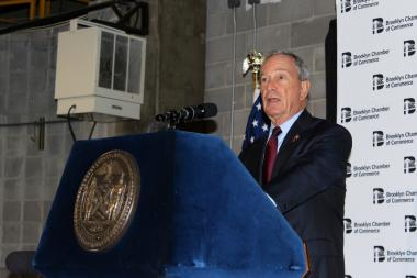 Mayor Michael Bloomberg delivers remarks at the former Pfizer plant in Brooklyn.