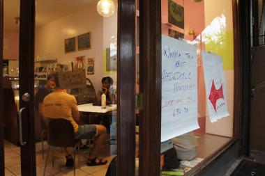 Members of the Crow Hill Community Association and the Crown Heights Assembly met on Thursday, August 1, 2013, to discuss common goals as they work to organize tenants around affordable housing.