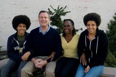 De Blasio said Thursday that when his children, Dante (left) and Chiara (right), were applying to middle and high school in New York City, they had a lot more options than children did 10 years prior.