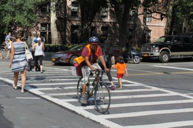 Residents in the 20th Precinct on the Upper West Side have complained to police about delivery bicyclists breaking traffic rules.