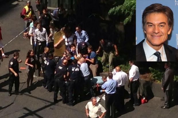 Dr. Mehmet Oz rushed to the aid of a woman whose leg was severed in a cab crash near Rockefeller Center, where his show is taped, on Tuesday.