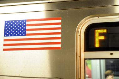 F train service was disrupted Tuesday after a person was seen on the tracks at York Street.