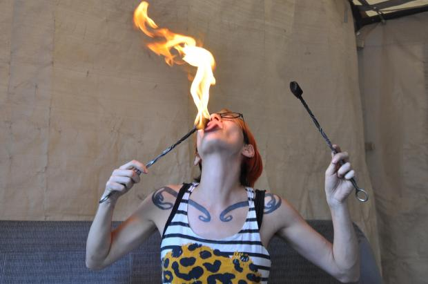 Tara McManus teaches fire eating at the Floasis in Bushwick.