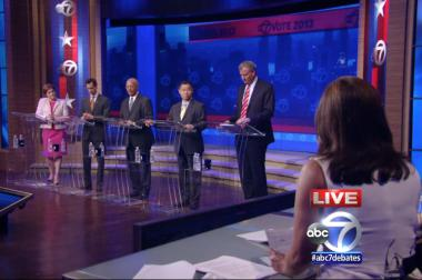 The five leading Democratic candidates for mayor during their first televised debate on August 13.