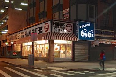Fulton Hot Dog King was the first Fulton Street business to replace roll up gates with an open link gate using funds from the Downtown Brooklyn Partnership.