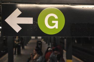 The G train sign in NYC on August 1, 2013.