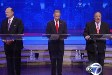 From left to right, Republican mayoral candidates Joe Lhota, George McDonald and John Catsimatidis participate in a debate on August 9, 2013.
