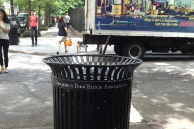"Under Vallone's plan, sponsored garbage cans would feature the name of the business that ""adopted"" it."