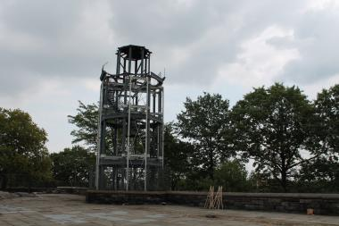The watchtower atop Marcus Garvey Park will begin to come down in November. It will be restored in 2017.