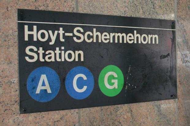 An MTA official sign marking the Hoyt-Schermerhorn subway station is misspelled.
