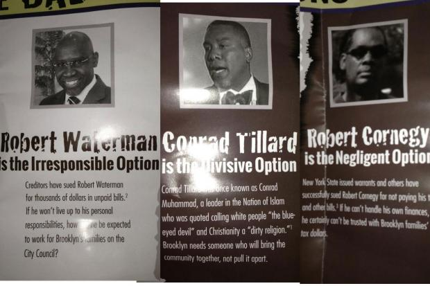 "The mailer, sponsored by Jobs For New York, calls them ""irresponsible,"" ""divisive"" and ""negligent."""
