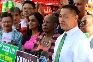 Comptroller John Liu rallies with supporters after the city's Campaign Finance Board ruled against giving his campaign millions of dollars in matching funds.