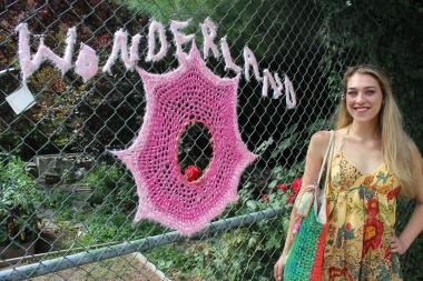 London Kaye O'Donnell, 24, crochets designs all over the streets of Bed-Stuy.