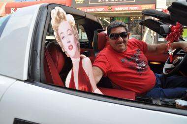 Bob Germino, 76, showed off his Marilyn Monroe cut-out in his 1989 Corvette.