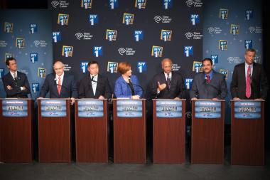 NEW YORK, NY - AUGUST 21: Democratic primary candidates for Mayor of New York City (L - R) Anthony D. Weiner, Sal F. Albanese, John C. Liu, Christine C. Quinn, William C. Thompson Jr., Erick J. Salgado, and Bill de Blasio face off for the first debate at the Town Hall on August 21, 2013 in New York City. Residents go to the polls September 10 for the primary election.