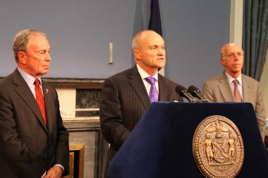 (L-R) Mayor Michael Bloomberg, Police Commissioner Ray Kelly, and Corporation Counsel Michael Cardozo address the press after Judge Shira Scheindlin ruled the city's stop-and-frisk policy is unconstitutional on August 12.