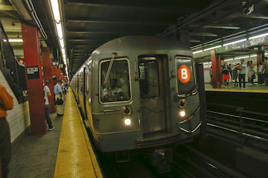 A person was taken to Bellevue hospital after they were struck by a B train Thursday, officials said.