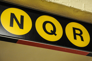 N Q R Train sign in NYC on August 1, 2013.