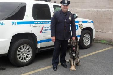 K9 officer Edwin Ramirez and 7-year-old German Shepherd Diesel helped catch a man who jumped a turnstile at a nearby subway station.