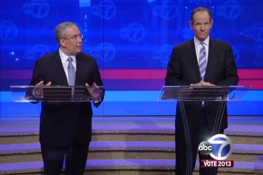 Borough President Scott Stringer faced off with Eliot Spitzer in the first televised debate on ABC 7.