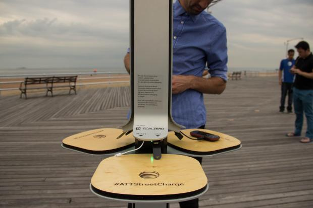 Solar-powered phone charging stations were installed in South Beach, Midland Beach and the Staten Island Zoo on Monday August 12, 2013.