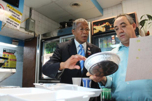 Some Harlem restaurant owners railed against Mayor Michael Bloomberg's proposed plan to ban the use of polystyrene foam containers, commonly referred to as Styrofoam, unveiled in the mayor's final State of the City Address in February.