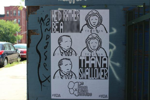 A poster featuring Kanye West lyrics and images of Trayvon Martin and George Zimmerman has popped up in Bed-Stuy.