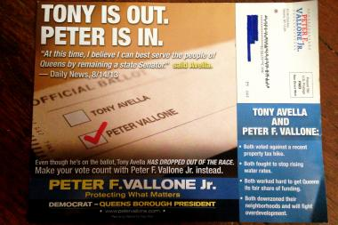 The fliers are intended to inform voters that Tony Avella is no longer running, Vallone said.