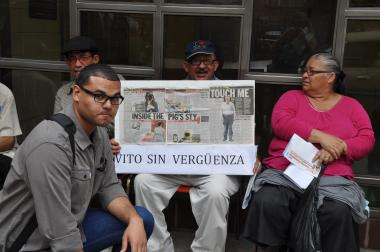 Protester Rafael Diaz, 24, stood with senior citizens from Ridgewood Bushwick Senior Citizen Council who opposed Vito Lopez's slated visit to the center.