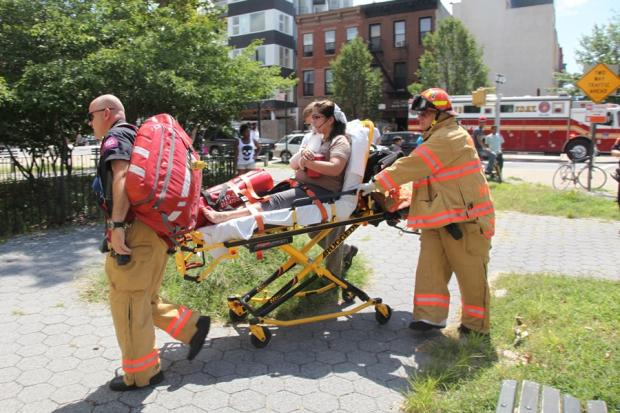 A fire hit the top floor of a Prospect Heights Building on Friday August 16, 2013.