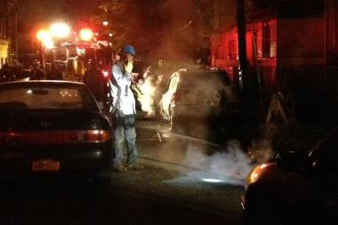 ConEdison crews were on scene after fires scorched a Woodhaven street Thursday morning.